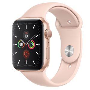 ساعت هوشمند اپل واچ سری 5 مدل 44 میلیمتر طلایی با بند اسپرت صورتی