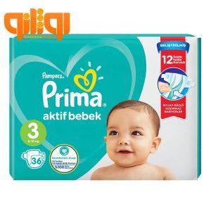 پوشک بچه پریما پمپرز سایز 3 بسته 36 عددی مدل Aktif Bebek